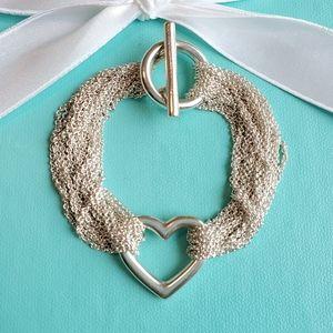 Heart multistrand toggle bracelet